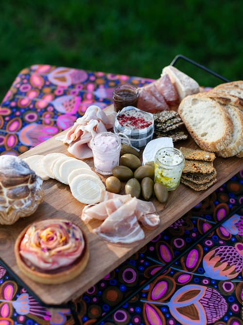 Luxury picnic ploughmans board setting